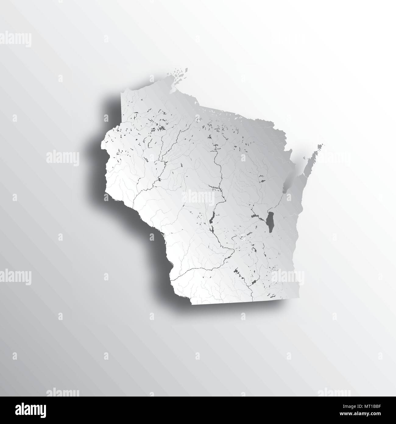 U.S. states - map of Wisconsin with paper cut effect. Hand made ...