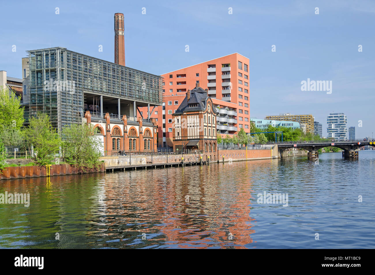 Berlin, Germany - April 22, 2018: Radialsystem V, a cultural and event center, with its red brick building of the machine hall of the pumping station - Stock Image