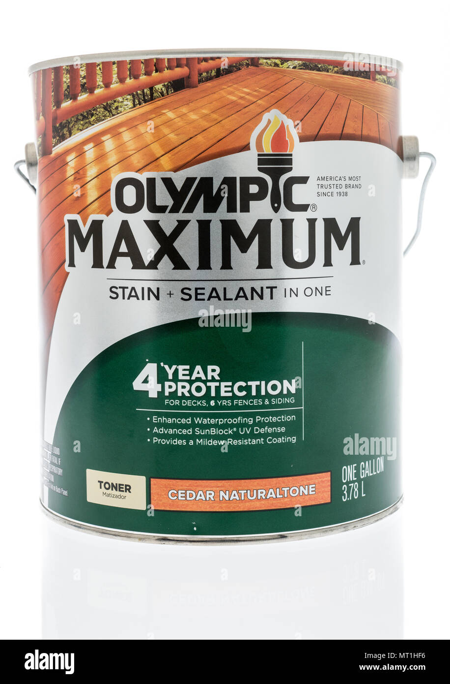Winneconne - 24 May 2018: A can of Olympic maximum stain and sealant in one for decks and fences on an isolated background. Stock Photo