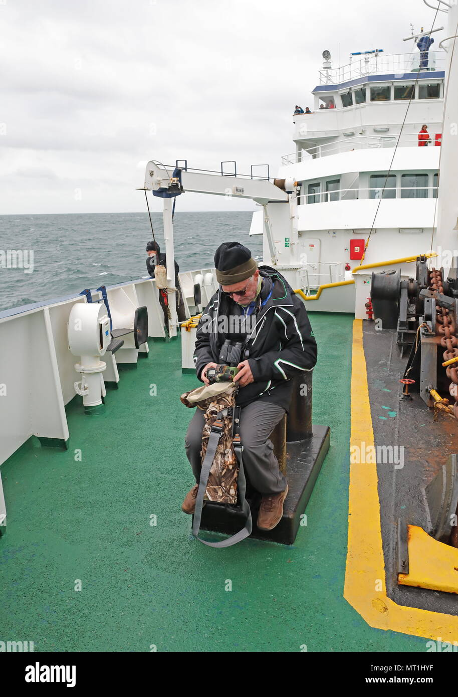 wildlife photographer checking pictures on back of camera at sea  At sea, Bay of Biscay                  May - Stock Image