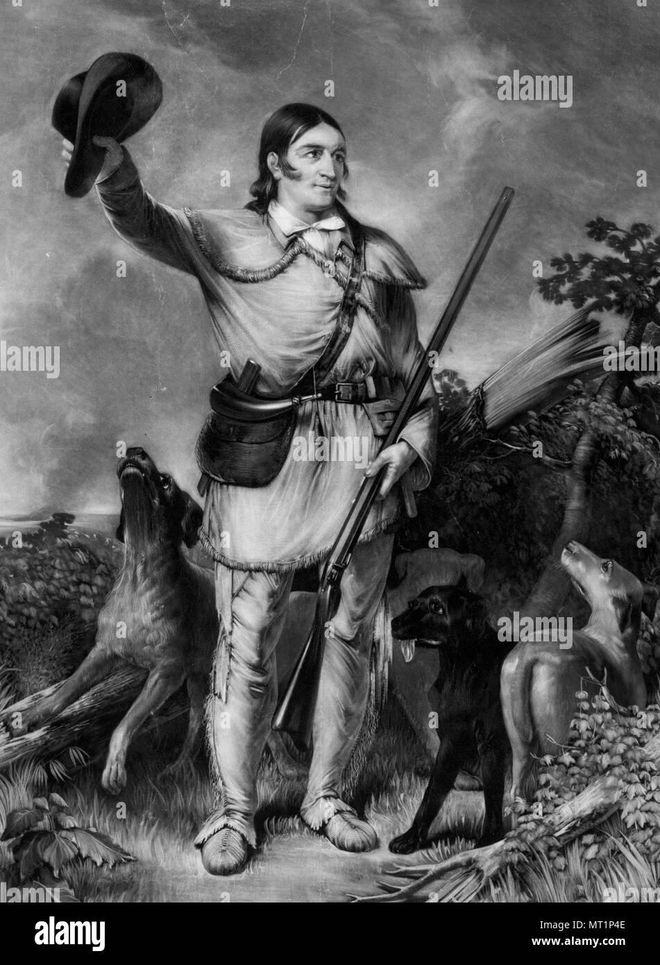 Davy Crockett, David 'Davy' Crockett (1786 – 1836) 19th-century American folk hero, frontiersman and politician - Stock Image