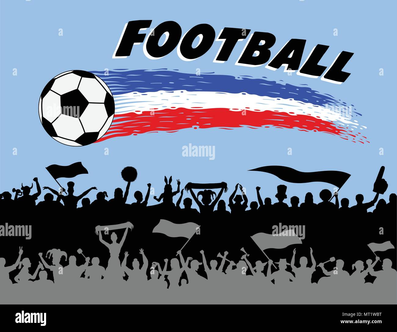 Football graph and brush strokes with soccer fans silhouettes. The silhouette and the background are in different layers and the text types do not nee - Stock Vector