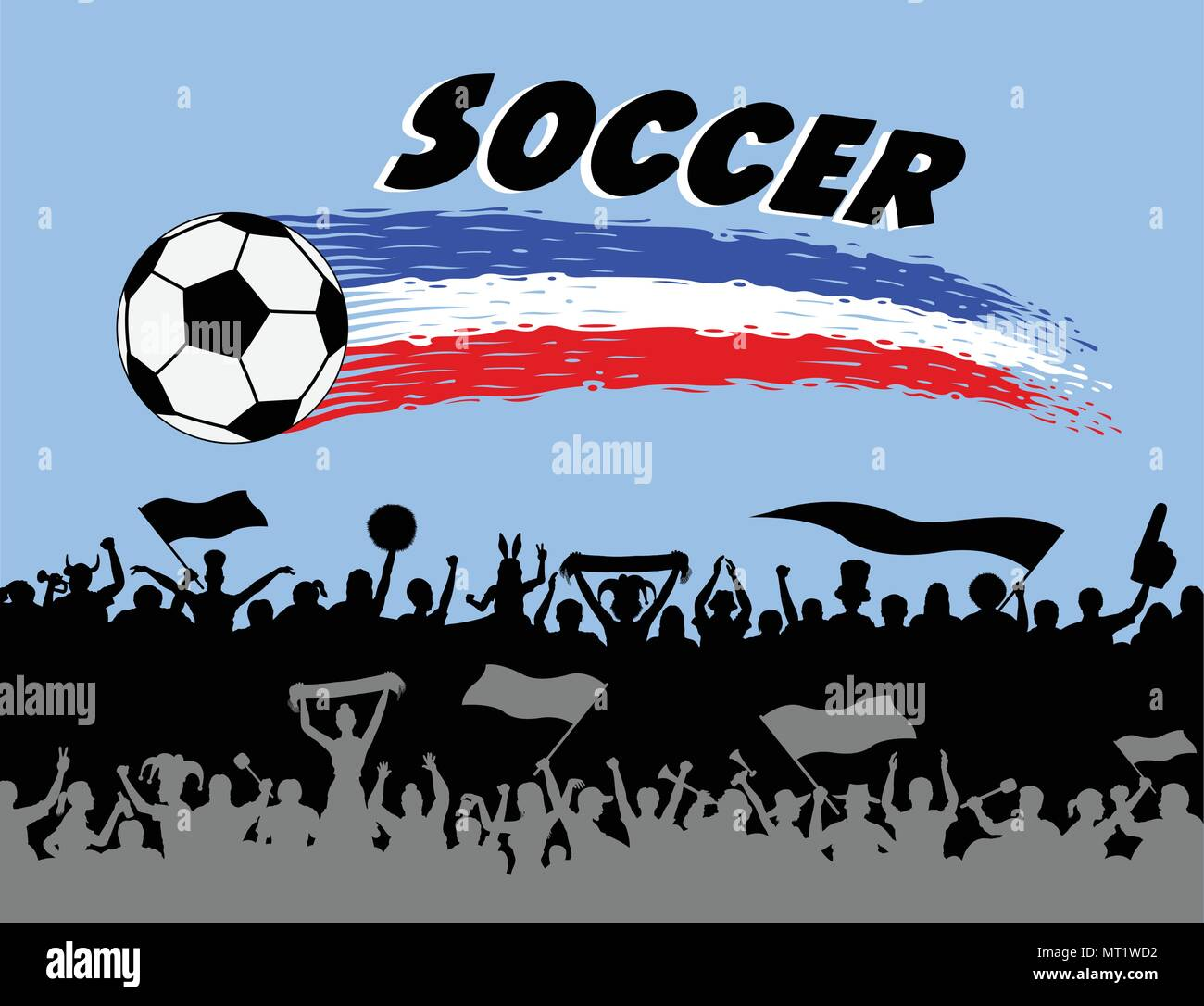 Soccer ball and brush strokes with football supporters silhouettes. The silhouette and the background are in different layers and the text types do no - Stock Vector