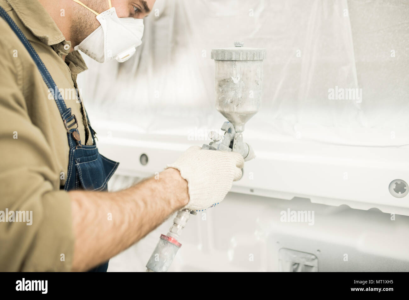 Technician Painting Auto - Stock Image