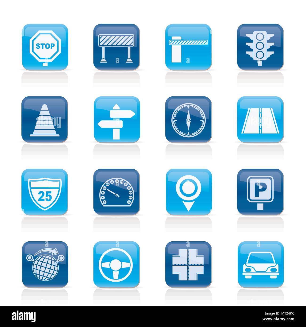 Road and Traffic Icons - vector icon set - Stock Vector