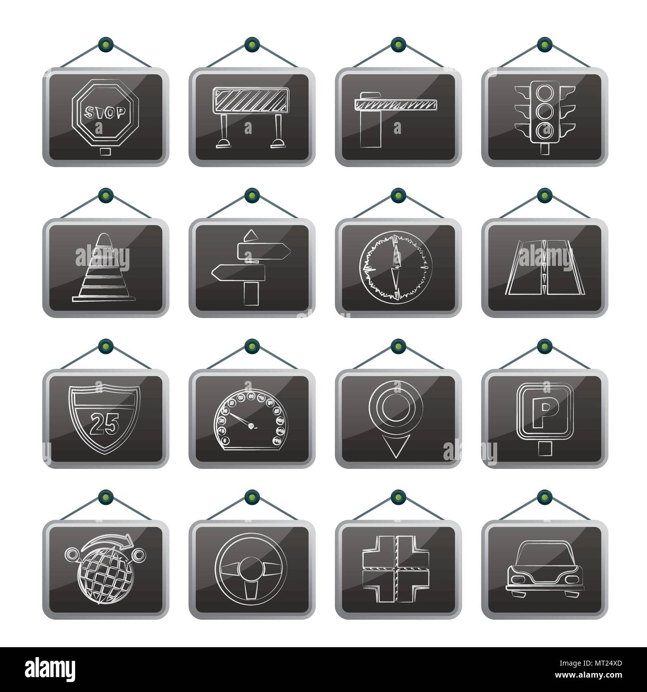 Road and Traffic Icons - vector icon set - Stock Image