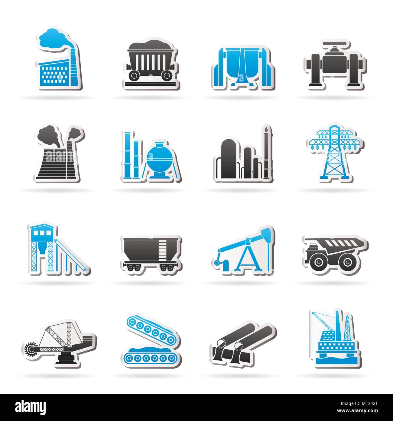 Heavy industry icons - vector icon set - Stock Vector