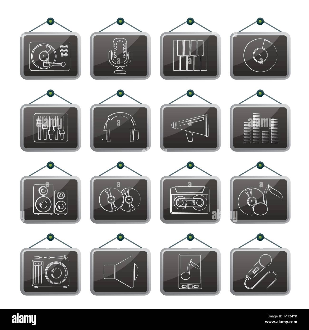 Music and audio equipment icons - vector icon setertainment - Stock Image