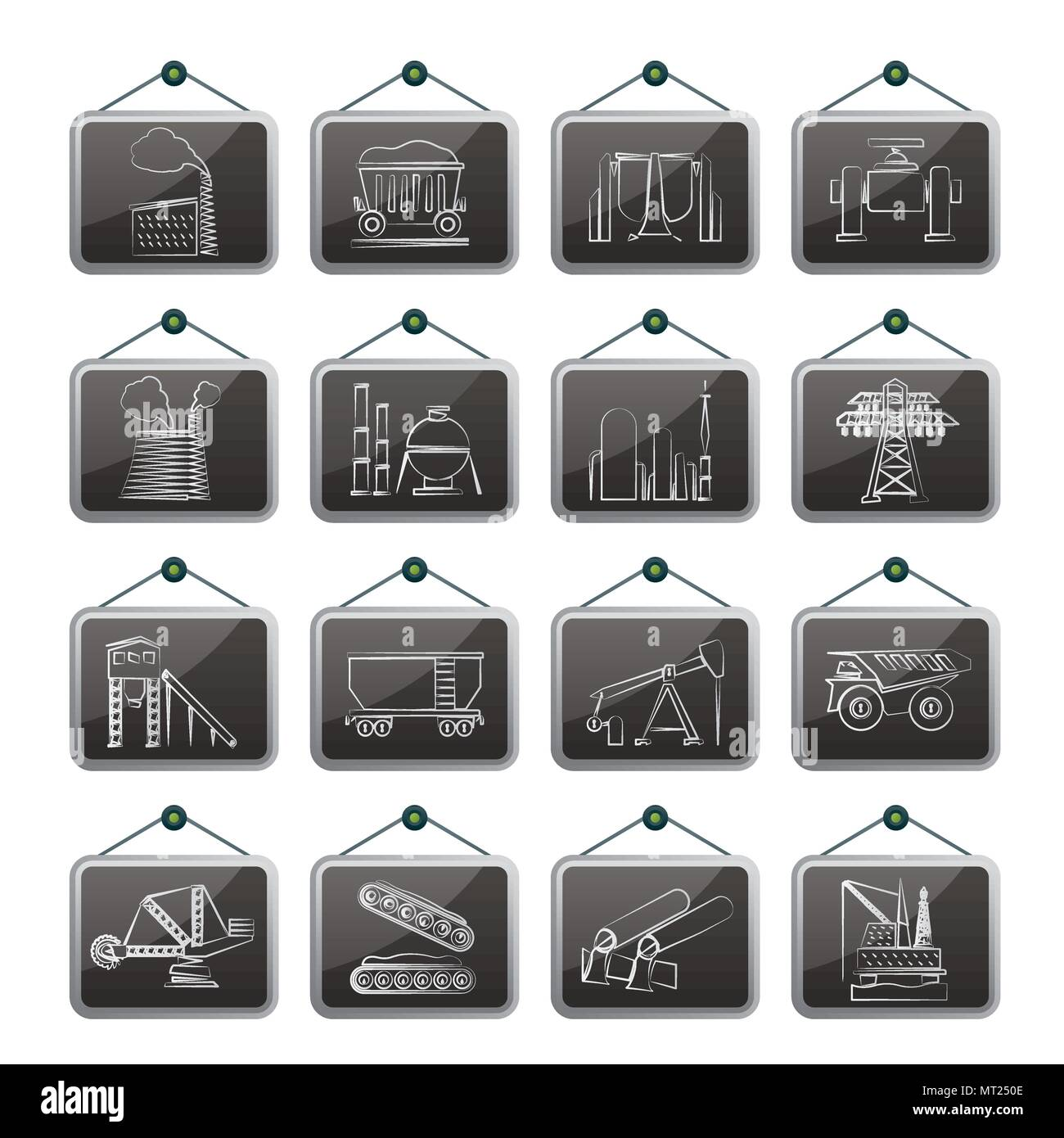 Heavy industry icons - vector icon set Stock Vector