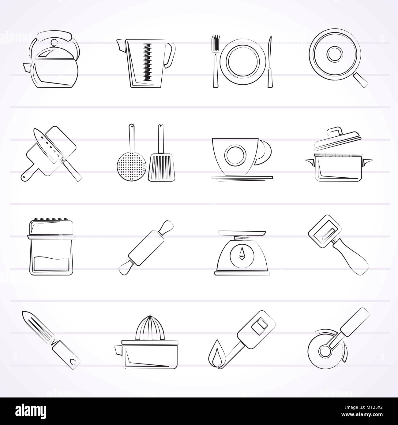 Kitchen gadgets and equipment icons - vector icon set - Stock Image