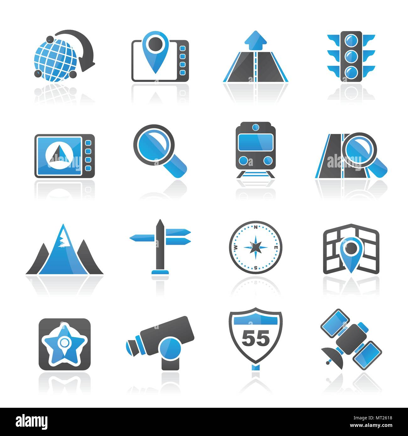Map, navigation and Location Icons -vector icon set - Stock Vector