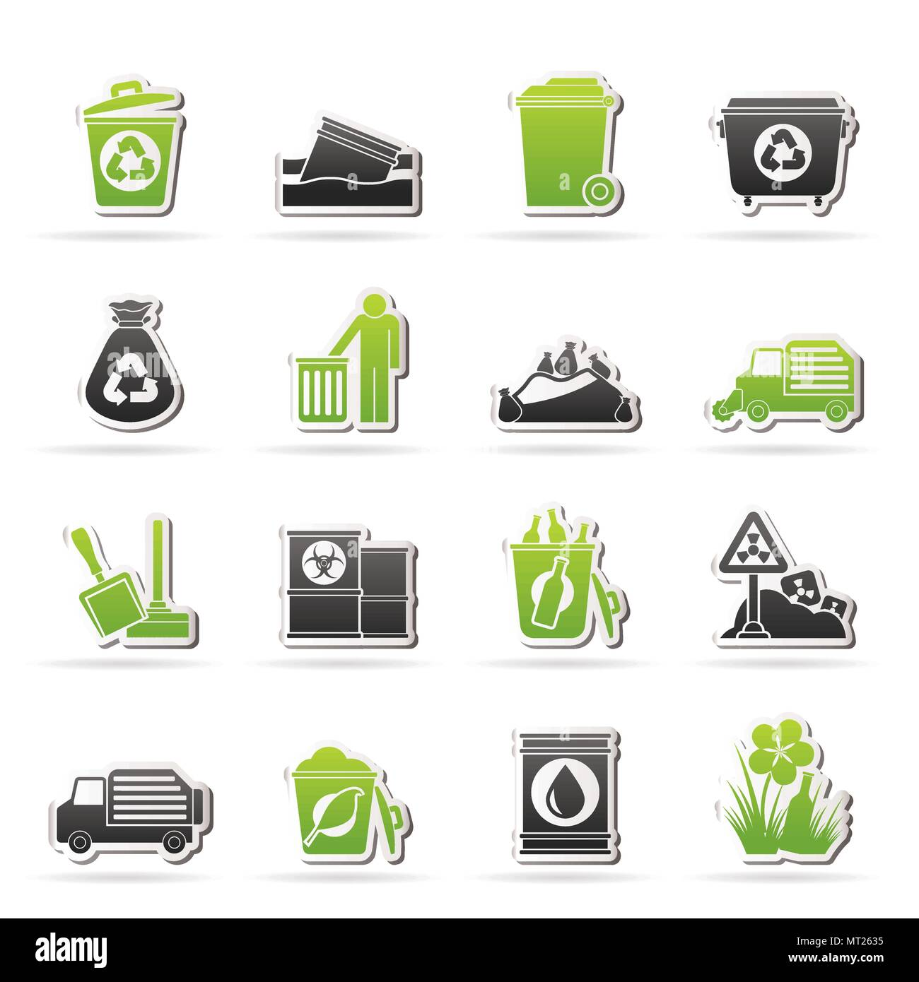 Garbage and rubbish icons - vector icon set - Stock Vector