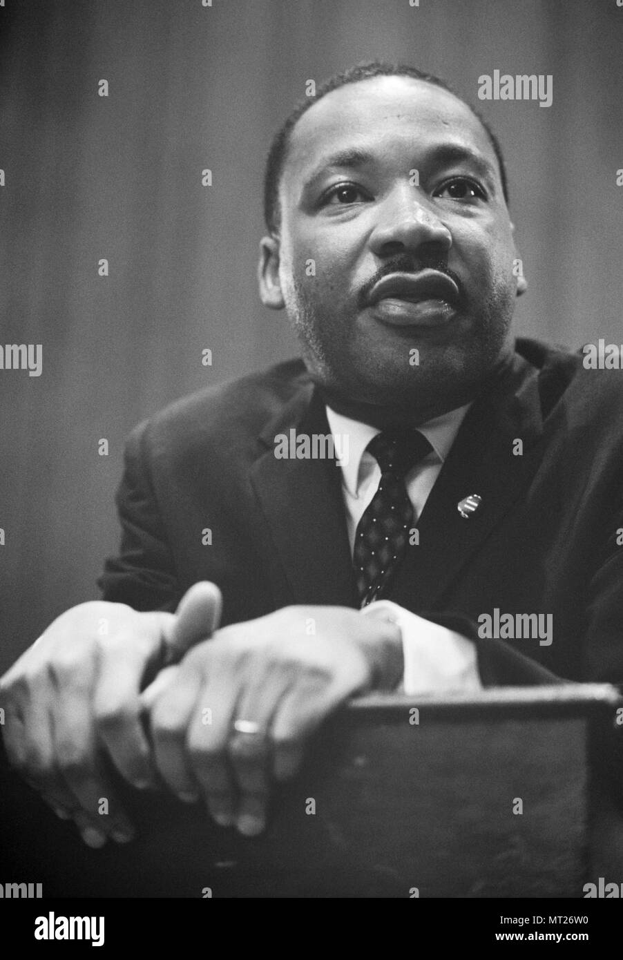 Martin Luther King at press conference on March 26, 1964 in Washington, D.C. following the Senate debate on the Civil Rights bill. - Stock Image