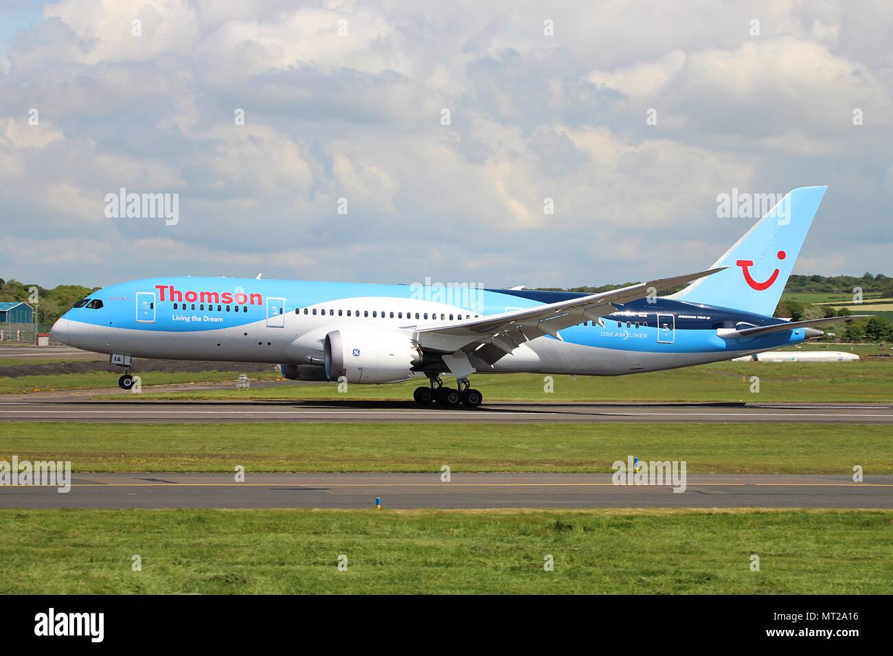 "G-TUIA ""Living The Dream"", a Boeing 787 Dreamliner operated by Thomson Airways, at Prestwick International Airport in Ayrshire Stock Photo"