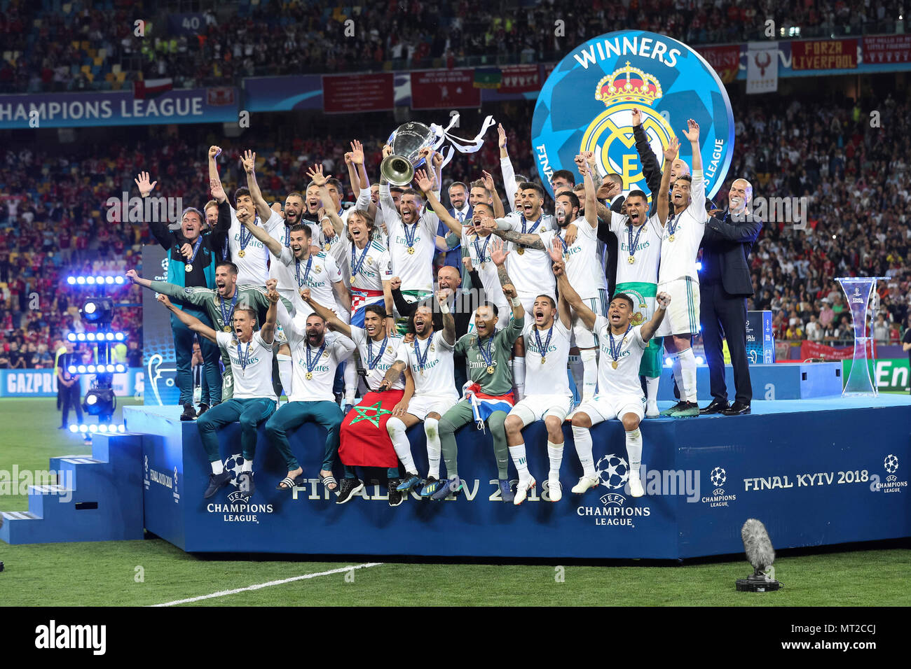 Sergio Ramos of Real Madrid lifts the trophy after the UEFA