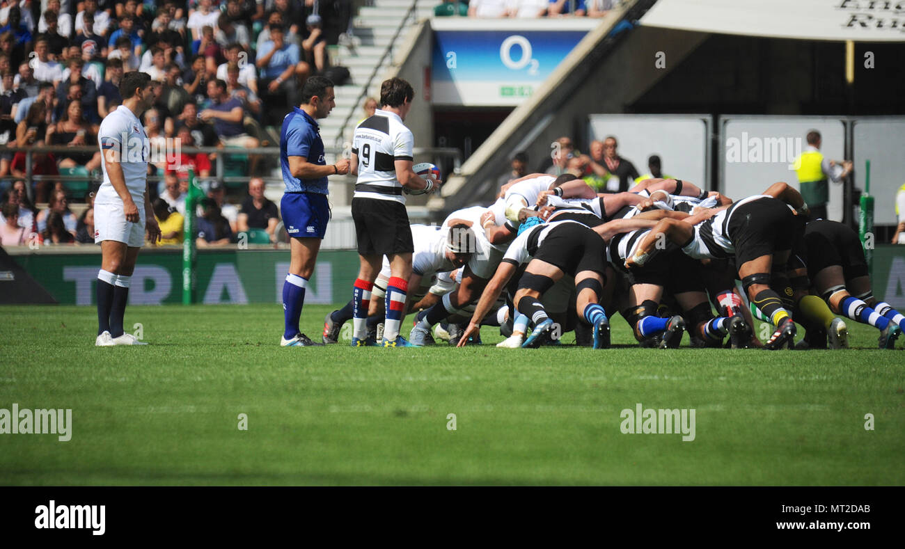 London, UK. 27th May 2018. Players locked into a scrum during the Barbarians V England Killik Cup match at Twickenham Stadium, London, UK.   The match was won by the Barbarian side in the end, 63-45.  While England is a national team, the Barbarians have no home ground or clubhouse. They're a touring club that plays at the invitation of clubs or unions and have visited all parts of the home unions. Overseas, the club has played in 25 countries, most recently Tunisia, Spain, Georgia and Portugal, thus spreading the Barbarian tradition. Credit: Michael Preston/Alamy Live News - Stock Image