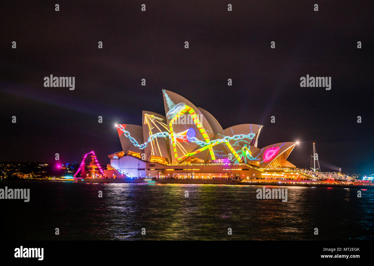 kinetic digitul sculptures designed by Australian artist Jonathan Zawanda, projected an the sails of the Sydney Opera House at Lighting of the Sailes during VIVID 2018, Benelong Point, Sydney Cove, New South Wales, Australia - Stock Image