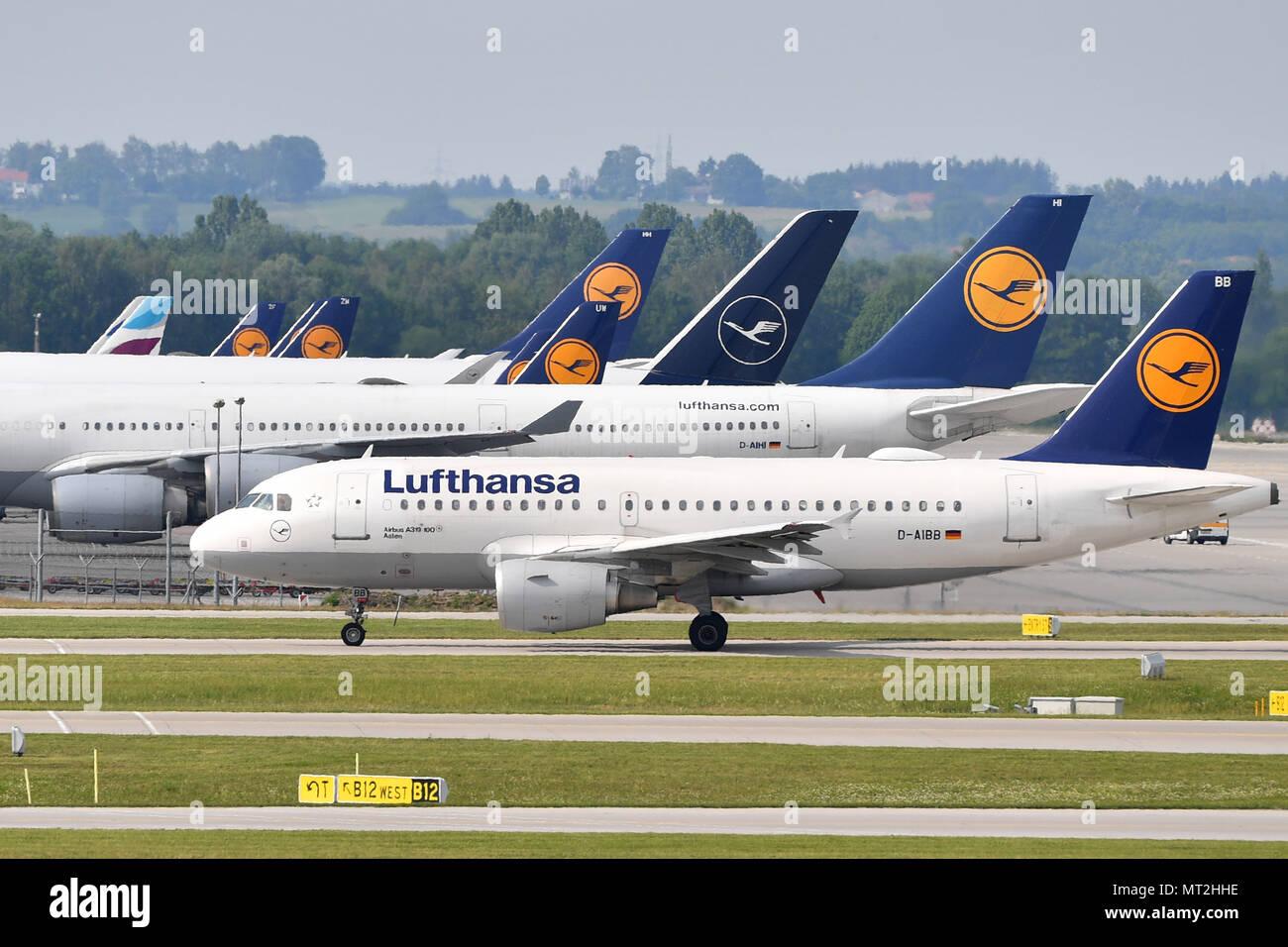 Munich, Deutschland  23rd May, 2018  Lufthansa jets with