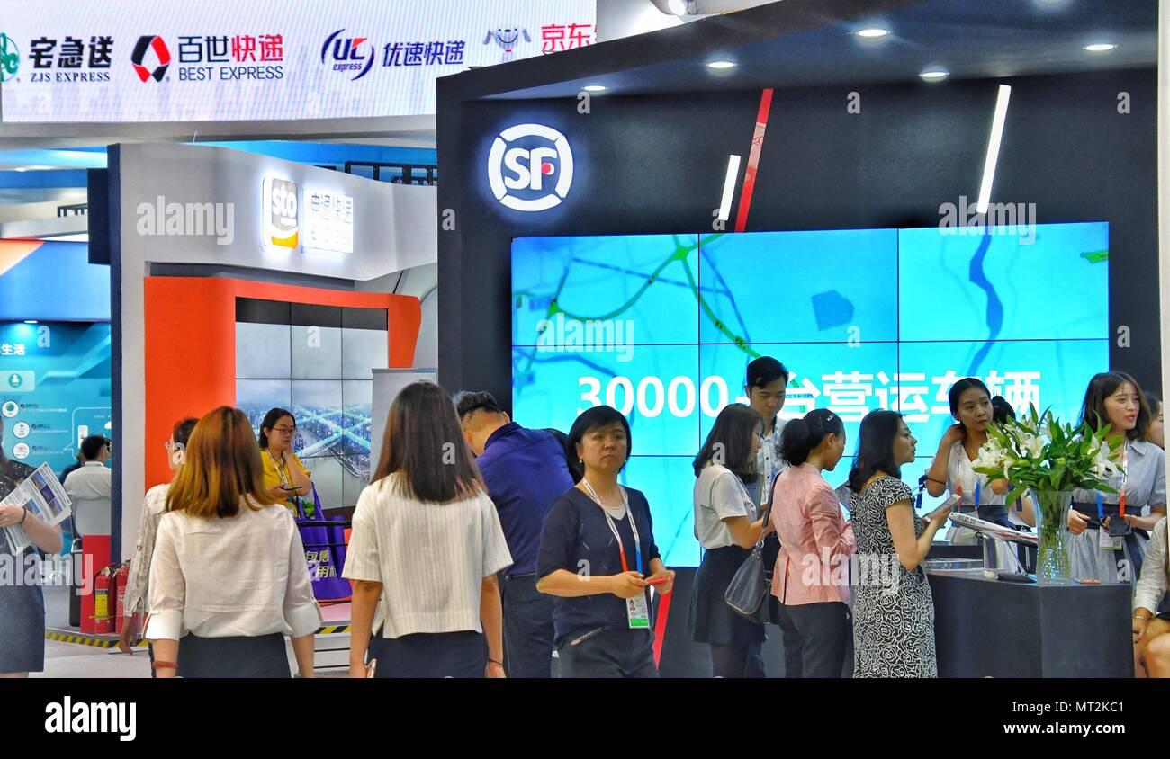 Beijing, China  28th May, 2018  Visitors consult at an