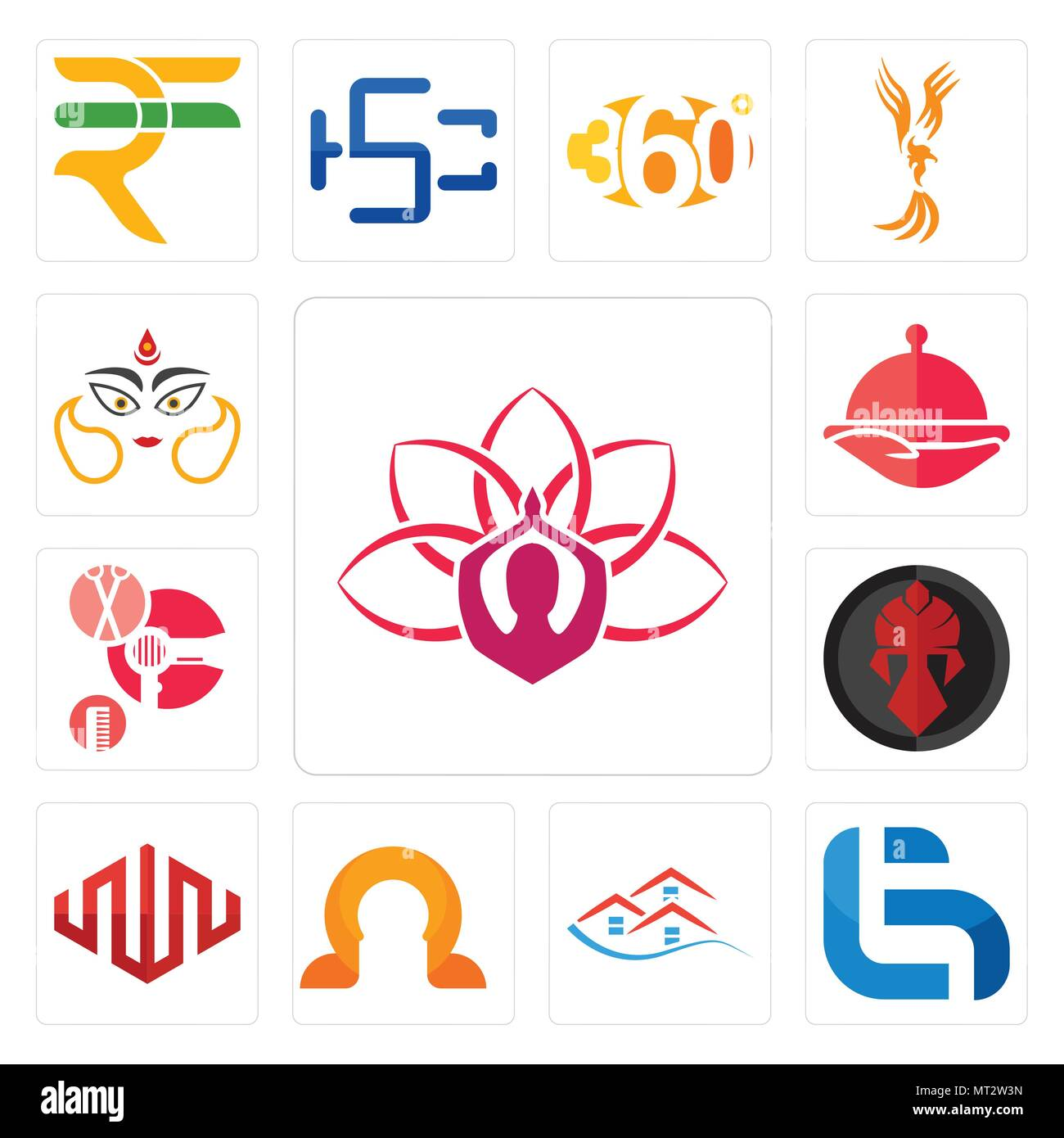 Set Of 13 Simple Editable Icons Such As Lotus Lg Emlak Omega