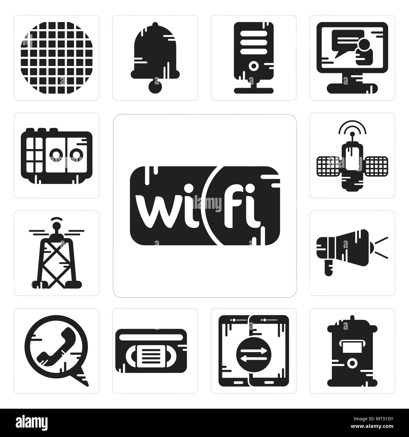 Set Of 13 simple editable icons such as Wifi, Mailbox, Smartphone