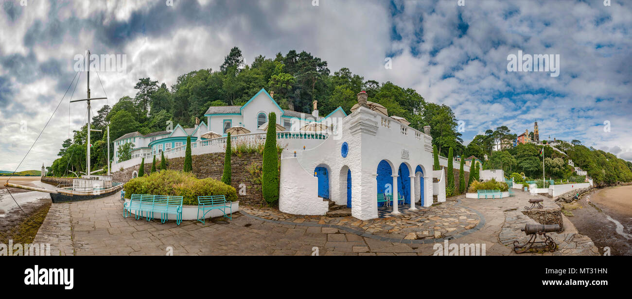 Portmeirion, North Wales. Scene of the TV series the prisoner starring Patrick McGoohan. - Stock Image