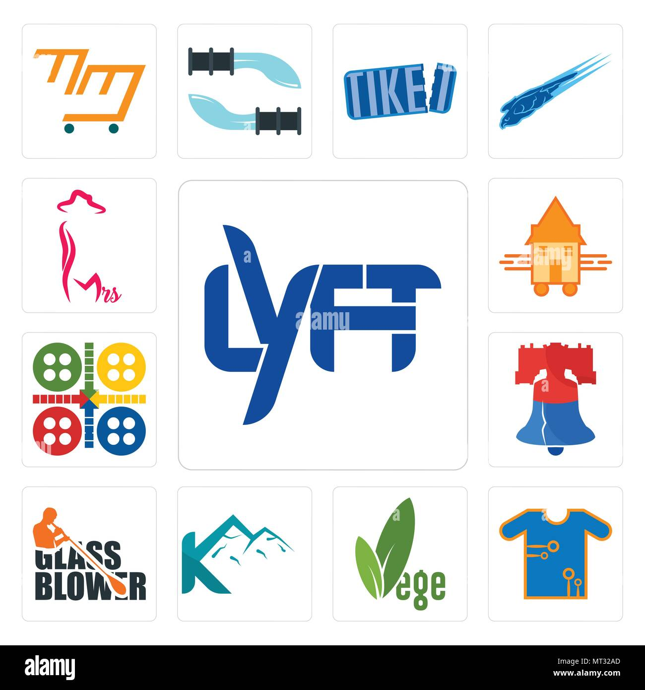 Set Of 13 simple editable icons such as lyft, teechip, vege, k mountain, glass blower, liberty bell, ludo, tiny house, mrs can be used for mobile, web - Stock Image