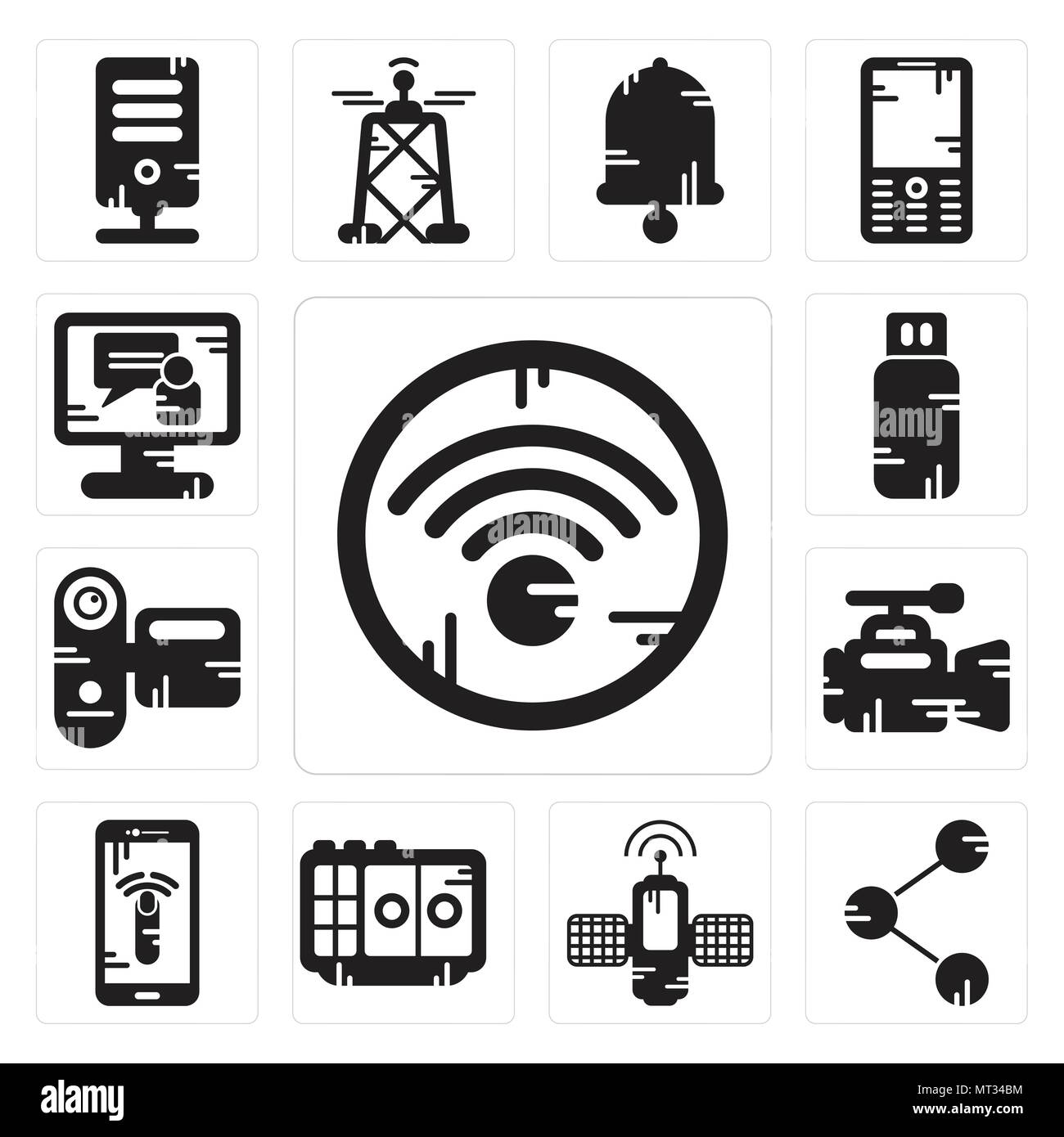 Set Of 13 simple editable icons such as Wifi, Share