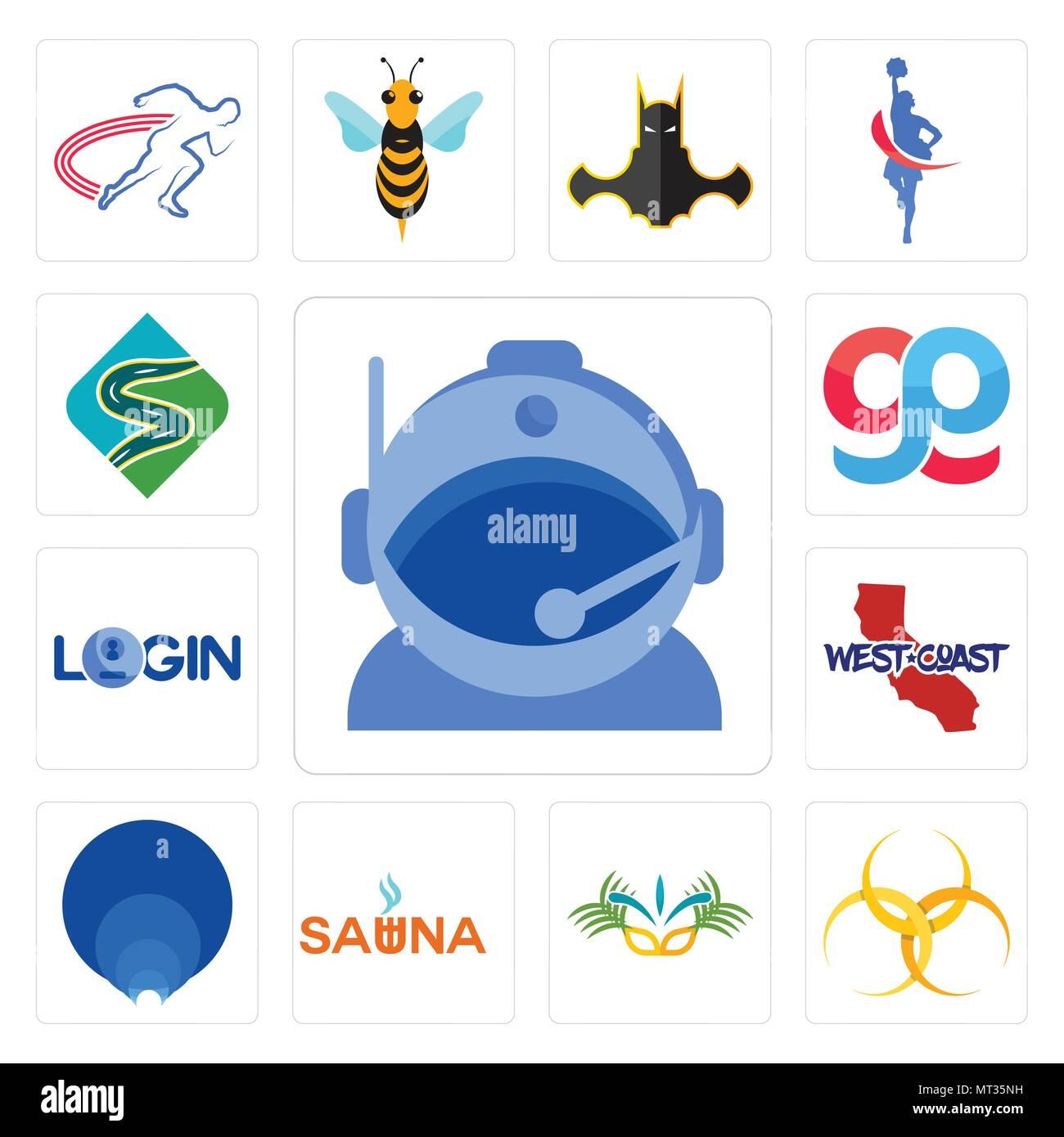 Set Of 13 Simple Editable Icons Such As Astronaut Helmet Hazardous