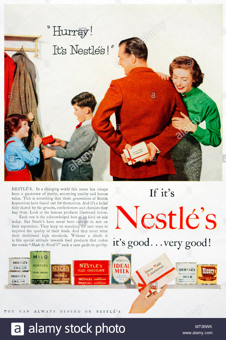 Nestle's vintage advertising 1955 - Stock Image