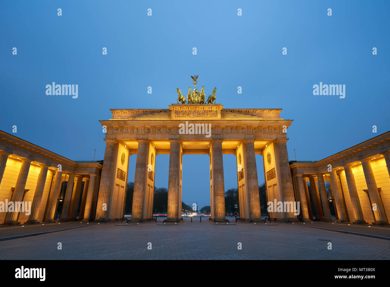 Berlin, Germany - April 4, 2017: Brandenburg Gate at sunrise in Berlin - Stock Image