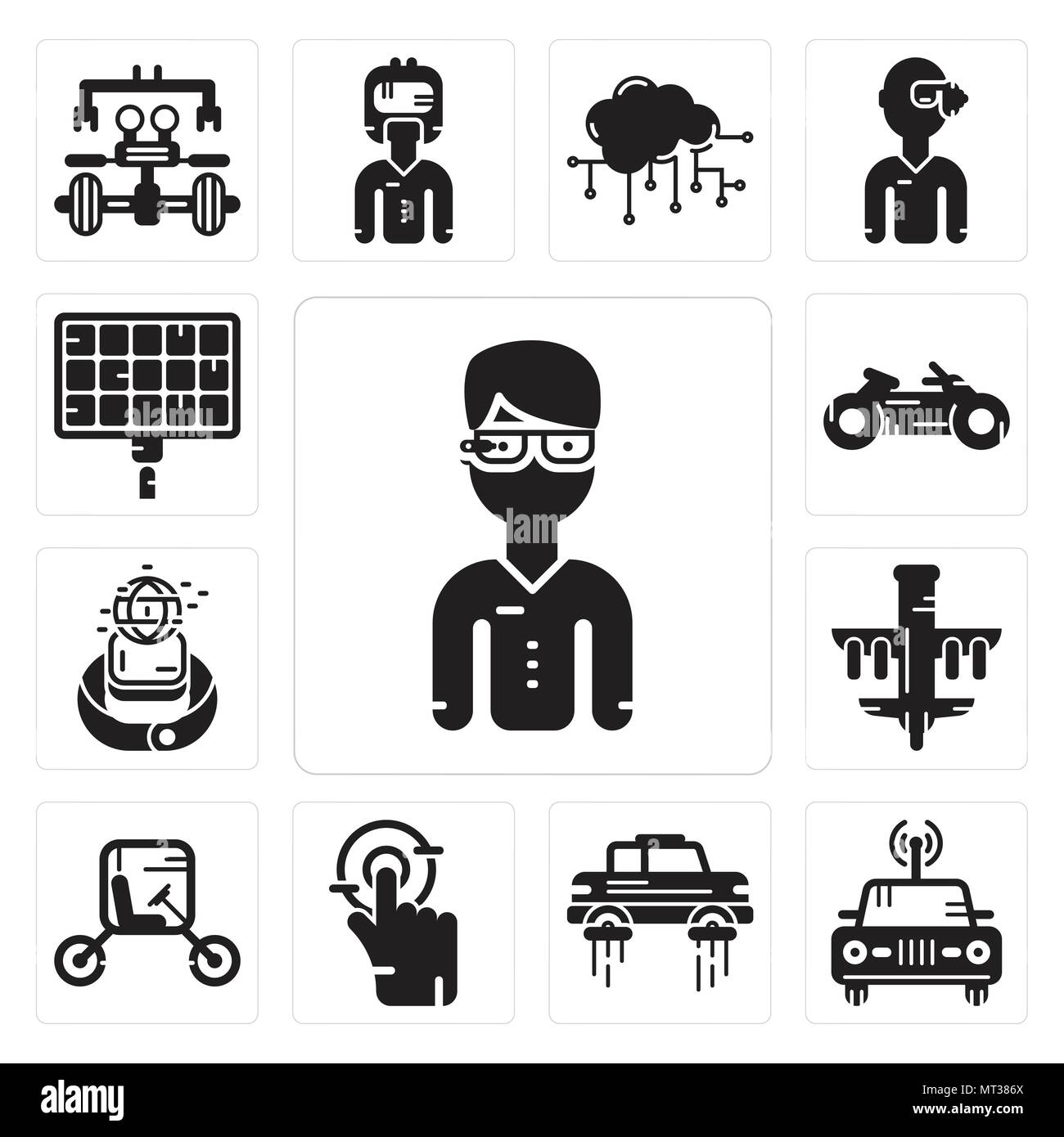 Set Of 13 Simple Editable Icons Such As Google Glasses Car Flying Solar Panel Smart Tap Vehicle Drone Smartwatch Motorbike Can Be Used For Mobil