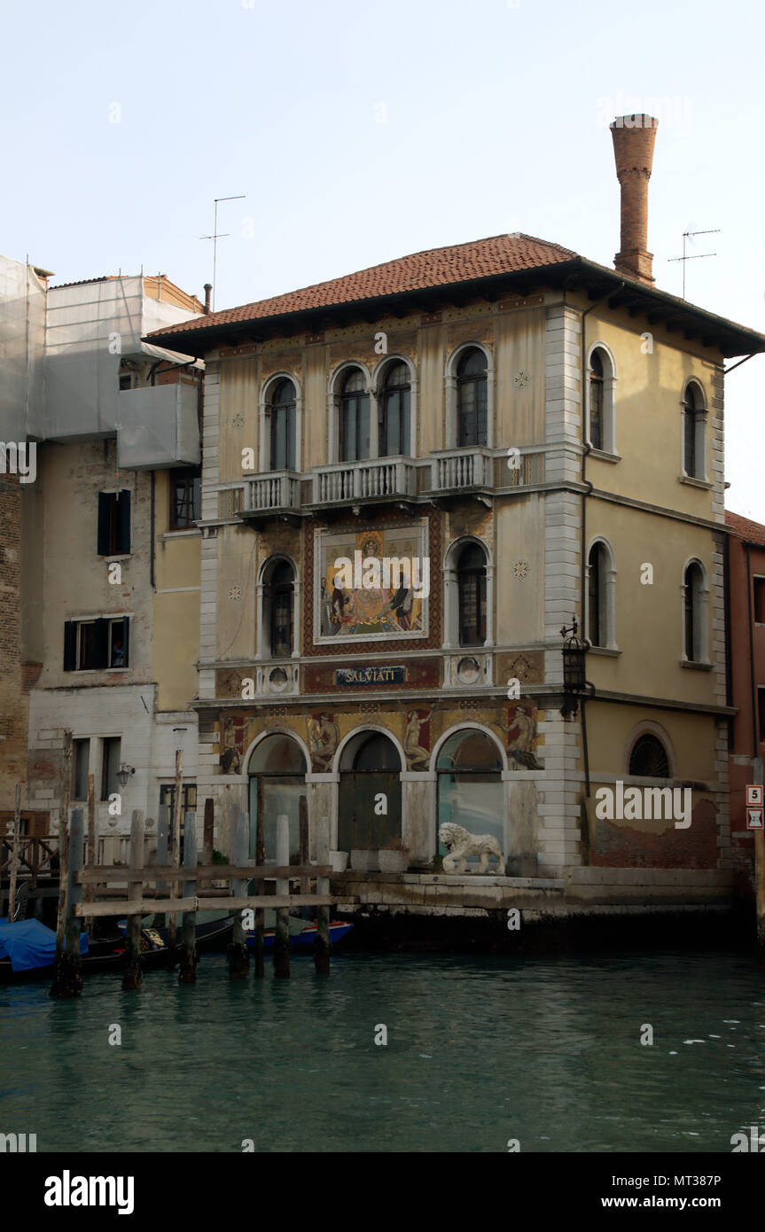 Palazzo Salviati; ostentatious historic residence on the canal front in Venice - Stock Image