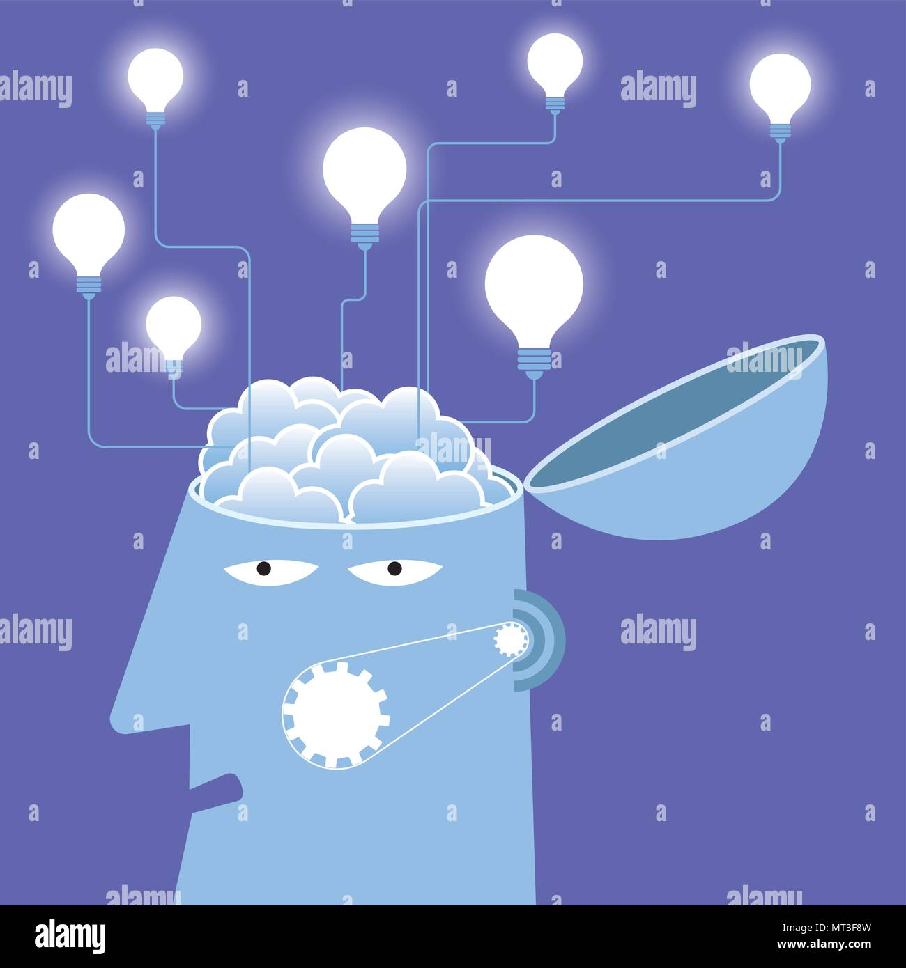 Artificial intelligence concept design, brainstorming. - Stock Vector