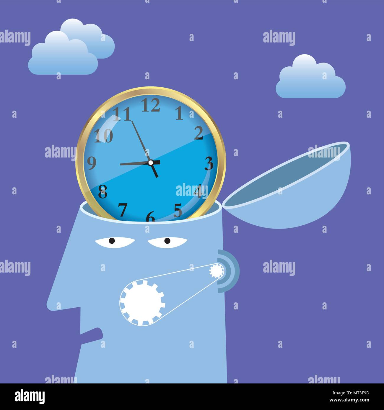Artificial intelligence concept design, clock in the brain.background is purple. - Stock Vector