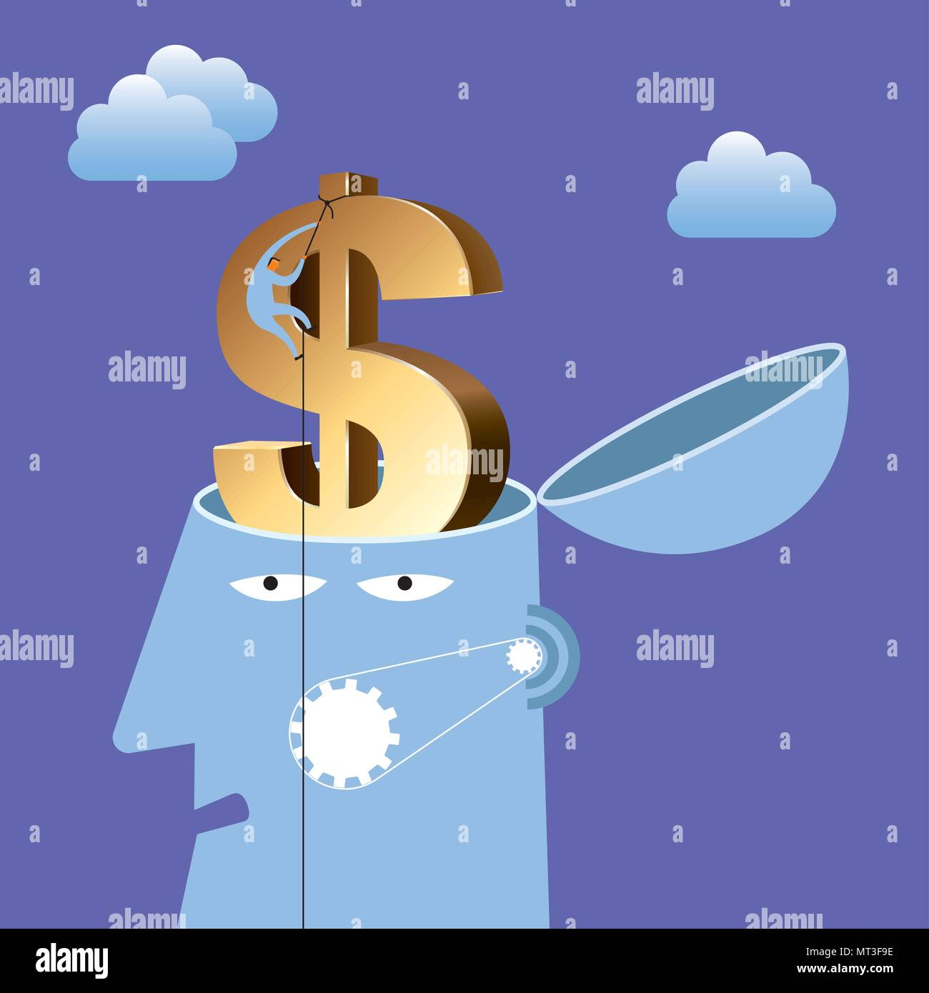 Artificial intelligence concept design, dollar sign in the brain. - Stock Vector