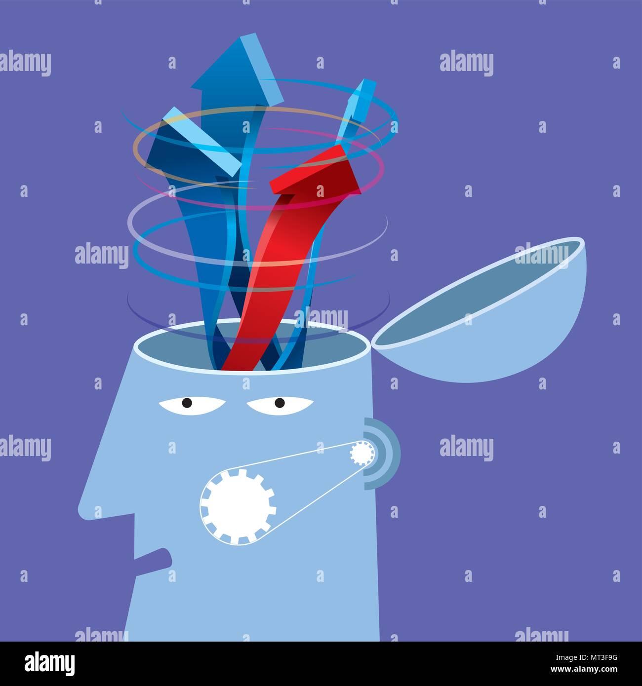 Artificial intelligence concept design, arrows in the brain - Stock Vector