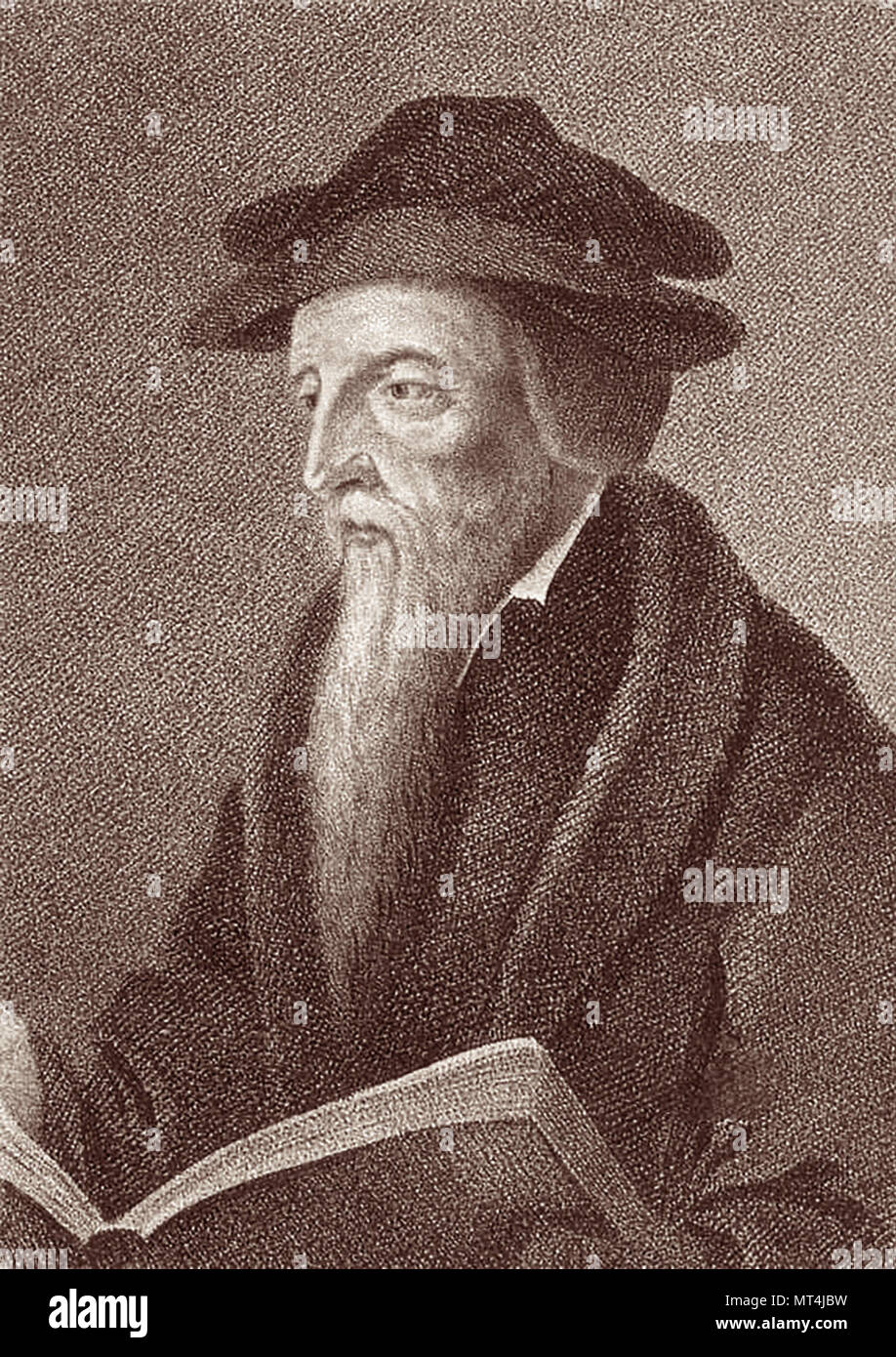 John Calvin (1509–1564) was a French Protestant theologian, pastor and key reformer in Geneva, Switzerland during the Protestant Reformation. His views of Christian theology later become known as Calvinism. - Stock Image