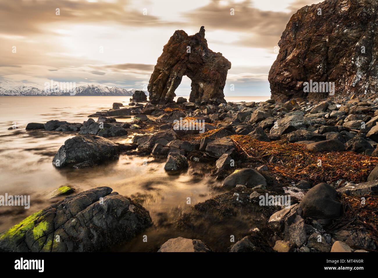 Gatanöf rock arch on the north coast of Iceland, close to Húsavík. - Stock Image