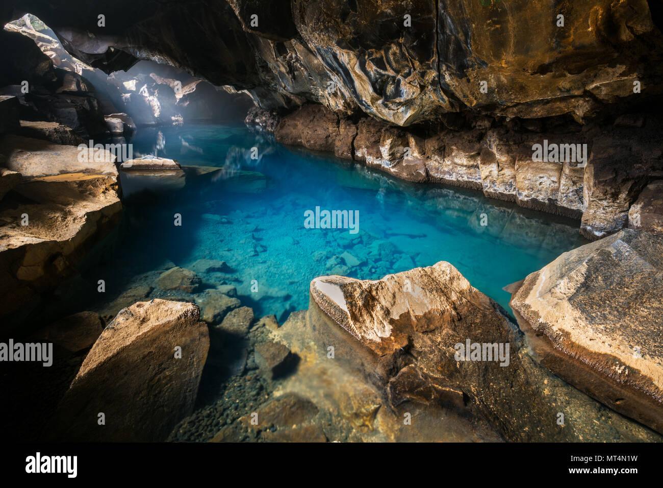 Small lava cave of Grjótagjá. - Stock Image