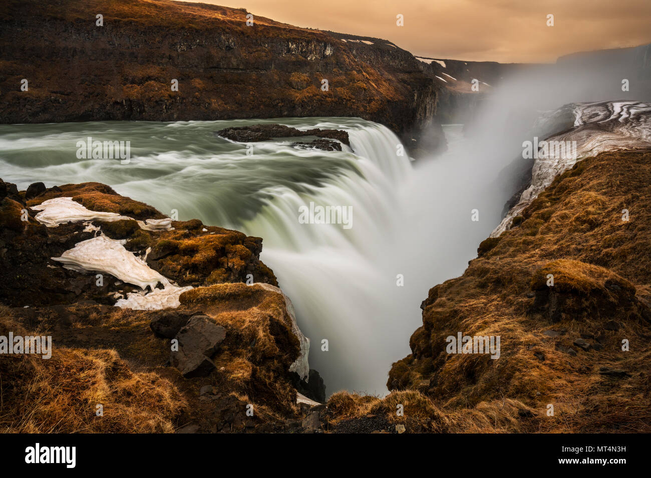 Mighty Gullfoss falling into the canyon of Hvítá river. - Stock Image