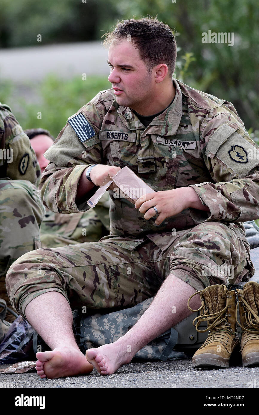 Sgt. Michael Roberts, C Troop, 5th Squadron, 1st Cavalry Regiment, 1st Stryker Brigade Combat Team, 25th Infantry Division, takes the opportunity to cool his heels at the halfway point of Operation Denali Conquest, a 26.2-mile foot march along the park road in Denali National Park, Alaska, July 26, 2017. (Army photo/John Pennell) - Stock Image