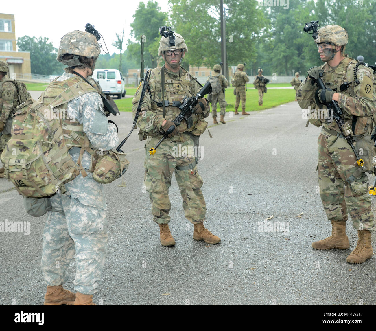 US Army Soldiers Assigned To The 65th Brigade Engineer Battalion BEB 2nd Combat Team 25th Infantry Division Review Their Strategy Before