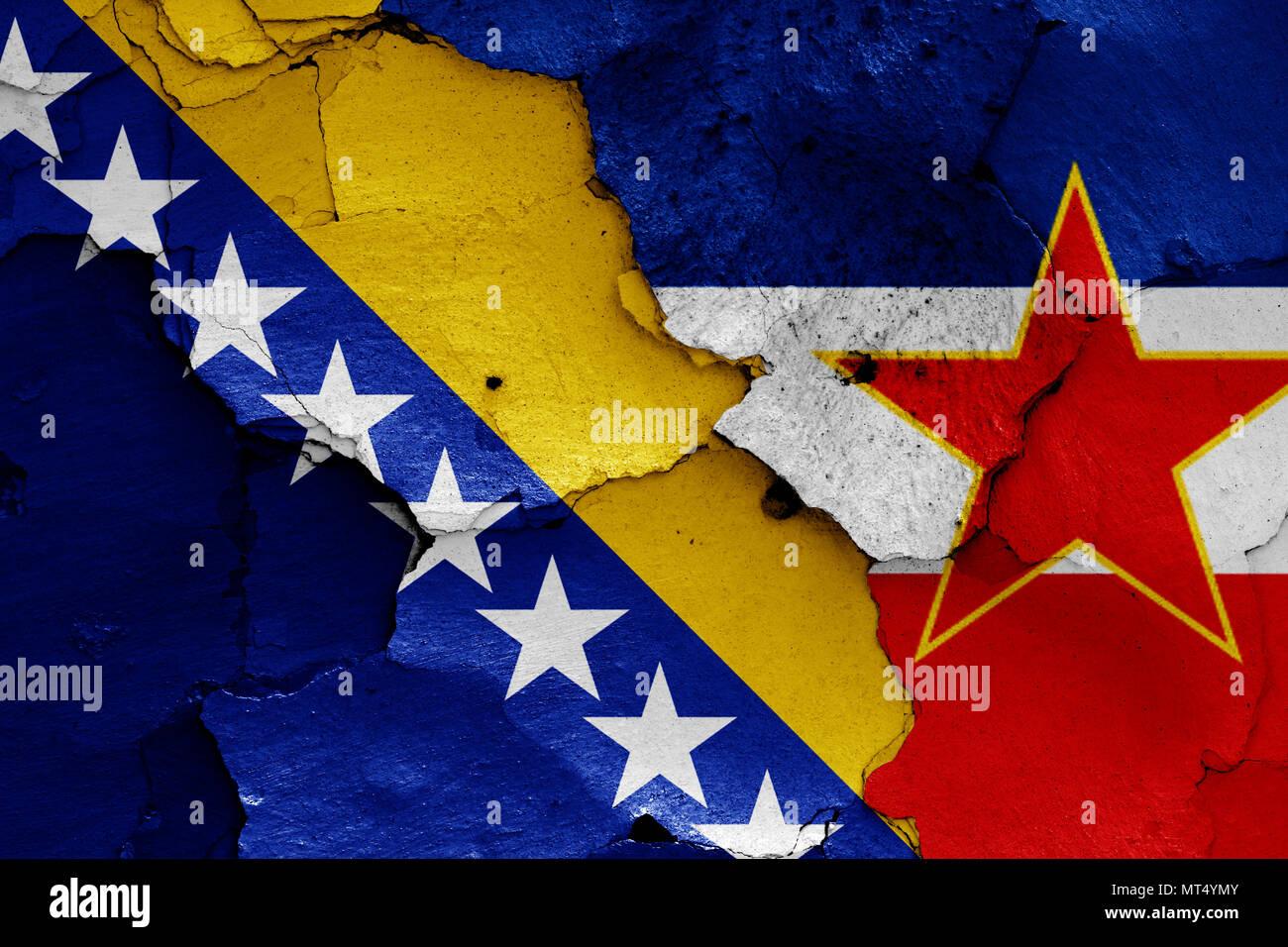 flags of Bosnia & Herzegovina and Yugoslavia - Stock Image