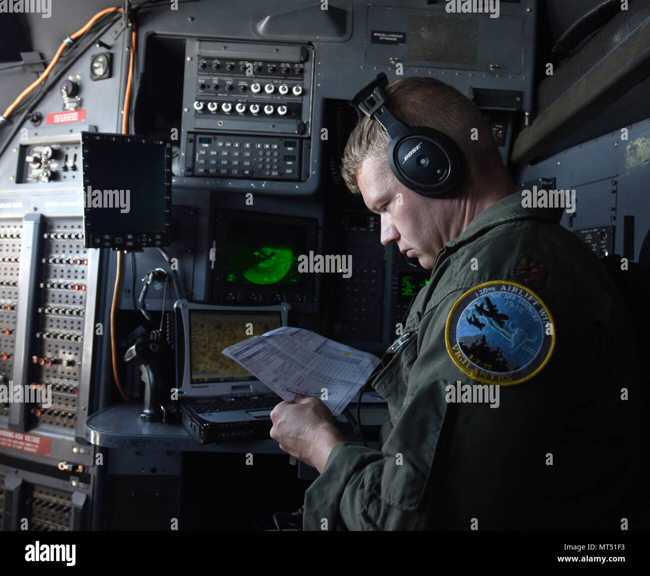 Maj  Erik Gustafson, a C-130 navigator with the 120th Airlift Wing