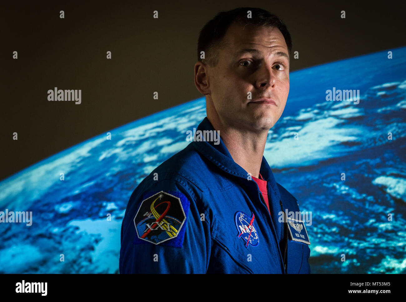 Astronaut Col. Tyler 'Nick' Hague is shown at Johnson Space Flight Center in Houston, Tex., Apr. 26, 2017, during two weeks of training for his scheduled flight to the International Space Station aboard a Russian Soyuz rocket in September of 2018. U.S. Air Force Col. Jack Fischer is currently serving as a flight engineer aboard ISS during a six-month mission. (U.S. Air Force photo by J.M. Eddins Jr.) - Stock Image