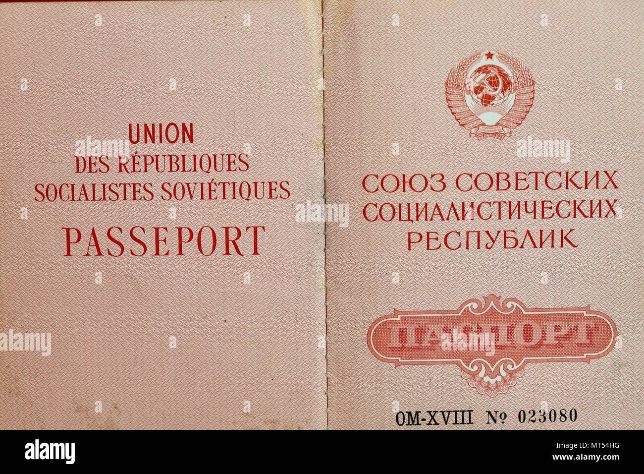 1980s/ 1990s CCCP / USSR/ Soviet / Russian passport issued to a female citizen. - Stock Image