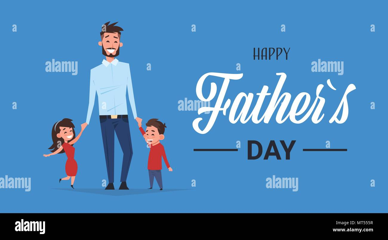 Happy Father Day Family Holiday Daughter And Son Hold Dad Hand
