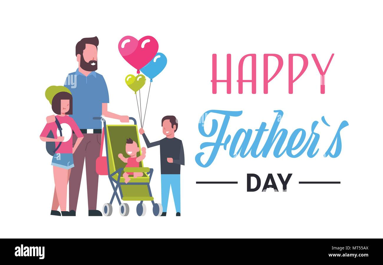 Happy Father Day Family Holiday Daughter Son And Little Baby