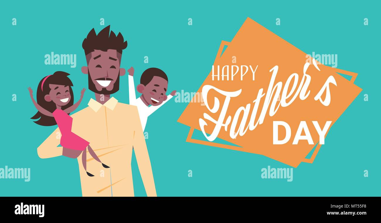 Happy father day family holiday african man dad hold daughter and happy father day family holiday african man dad hold daughter and son greeting card flat m4hsunfo
